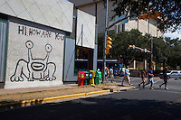 """Hi, How Are You?"" frog (also known as ""Jeremiah the Innocent"") a notable and famous Austin landmark in was painted in 1993, on the side of Sound Exchange located on the corner of 21st and Guadalupe (The Drag). Locals have successfully endeavored to preserve the image when the building subsequently changed ownership to a Baja Fresh restaurant and more recently to a restaurant called Crave. In Spring 2008, a Jeremiah the Innocent collectible figurine was released in limited runs of four different colors."