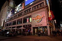 Toronto (ON) CANADA - April 2008 File Photo..Hard Rock Cafe.Yonge-Dundas Square (commonly called Dundas Square)is a public square in downtown Toronto, Ontario, Canada. It is located on the southeast corner of Yonge Street and Dundas Street. It was opened to the public in November 2002..Designed by Brown + Storey Architects, the square was intended as a new public space in Toronto, somewhat akin to Nathan Phillips Square...The intersection is claimed by some, to be the busiest intersection in Canada with over 56 million people each year who pass this intersection to work, play or shop. It is sometimes nicknamed as Toronto's Times Square, as development is cited as modelling New York's Times Square, Tokyo's Shibuya district and London's Piccadilly Circus. To ease traffic, a pedestrian scramble has been installed