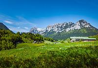 Deutschland, Bayern, Berchtesgadener Land, Ramsau bei Berchtesgaden: Bergbauernhof und Reiter Alpe (Reiter Alm)   Germany, Upper Bavaria, Berchtesgadener Land; Ramsau bei Berchtesgaden: mountain farmhouse and Reiter Alpe (Reiter Alm) mountain range