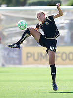24 May 2009: Carrie Dew of the FC Gold Pride tries to control a high ball during the game against Los Angeles Sol at Buck Shaw Stadium in Santa Clara, California.  Los Angeles Sol defeated FC Gold Pride, 2-0.