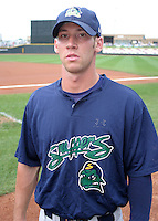 August 30, 2003:  Craig Breslow of the Beloit Snappers, Class-A affiliate of the Milwaukee Brewers, during a Midwest League game at Fifth Third Field in Dayton, OH.  Photo by:  Mike Janes/Four Seam Images