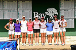 HOUSTON, TX - MAY 19: The individual medalist stand by the leader board during the Division II Women's Golf Championship held at Bay Oaks Country Club on May 19, 2018 in Houston, Texas. (Photo by Justin Tafoya/NCAA Photos via Getty Images)