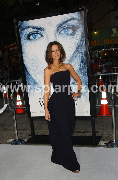 """**ALL ROUND PICTURES FROM SOLARPIX.COM**.**SYNDICATION RIGHTS FOR UK, AUSTRALIA, DENMARK, PORTUGAL, S. AFRICA, SPAIN & DUBAI (U.A.E) ONLY**.Kate Beckinsale at the  """"Whiteout"""" Los Angeles Premiere. Held at the Mann's Village Theater, Westwood, CA. USA. 9 September 2009.This pic: Kate Beckinsale..JOB REF: 9917 PHZ (Ortega)   DATE: 09_09_2009.**MUST CREDIT SOLARPIX.COM OR DOUBLE FEE WILL BE CHARGED**.**MUST NOTIFY SOLARPIX OF ONLINE USAGE**.**CALL US ON: +34 952 811 768 or LOW RATE FROM UK 0844 617 7637**"""