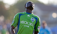 Steve Zakuani reacts to the ball going out of play. The Seattle Sounders defeated the San Jose Earthquakes 1-0 in the second annual Heritage Cup at Buckshaw Stadium in Santa Clara, California on July 31st, 2010.