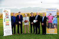Pictured at the launch of 'Sam to the Summit' which will take place on May 16th 2014 at Keel GAA field in County Kerry on Thursday night were from left, Gerard O'Dwod, legendary footballers Darragh O'Se, Tom Prendergast and Anthony Kerins, Frank Hayes, Kerry Group and William O&quot;Shea, Chairman, Keel GAA.<br /> Picture by Don MacMonagle