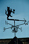 'WINE IN ENGLAND, SOMERSET', WEATHER VANE AT NORTH WOTON VINEYARD, GIVEN TO OWNERS MAJOR & MRS GILLISPIE BY SON, IT SHOWS A CAT WITH A GLASS OF WINE, 1989