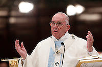 Papa Francesco celebra una messa in occasione dell'apertura della Porta Santa della Basilica di Santa Maria Maggiore a Roma, 1 January 2016.<br /> Pope Francis celebrates a mass on the occasion of the opening of the Holy Door of St. Mary Major Basilica in Rome, 1 January 2016.<br /> UPDATE IMAGES PRESS/Isabella Bonotto<br /> <br /> STRICTLY ONLY FOR EDITORIAL USE
