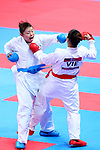 (L-R) <br /> Ayumi Uekusa (JPN), <br /> Nguyen Thi Hong Anh (VIE), <br /> AUGUST 25, 2018 - Karate : <br /> Women's Kumite +68kg Quarter-final <br /> at Jakarta Convention Center Plenary Hall <br /> during the 2018 Jakarta Palembang Asian Games <br /> in Jakarta, Indonesia. <br /> (Photo by Naoki Nishimura/AFLO SPORT)