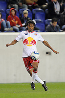 Roy Miller (7) of the New York Red Bulls during the first half of a Major League Soccer match between the New York Red Bulls and the Chicago Fire at Red Bull Arena in Harrison, NJ, on March 27, 2010. The Red Bulls defeated the Fire 1-0.