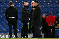West From Manager, Alan Pardew, shares a joke with match referee, Lee Mason and Martin Allen pre-match during Chelsea vs West Bromwich Albion, Premier League Football at Stamford Bridge on 12th February 2018