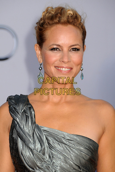Maria Bello.BAFTA Brits to Watch Event held at the Belasco Theatre, Los Angeles, California, USA, 9th July 2011..portrait headshot hair up one shoulder strap grey gray silver ruched  earrings dangly .CAP/ADM/BP.©Byron Purvis/AdMedia/Capital Pictures.