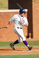 Dane McDermott (7) of the High Point Panthers follows through on his swing against the Bowling Green Falcons at Willard Stadium on March 9, 2014 in High Point, North Carolina.  The Falcons defeated the Panthers 7-4.  (Brian Westerholt/Four Seam Images)