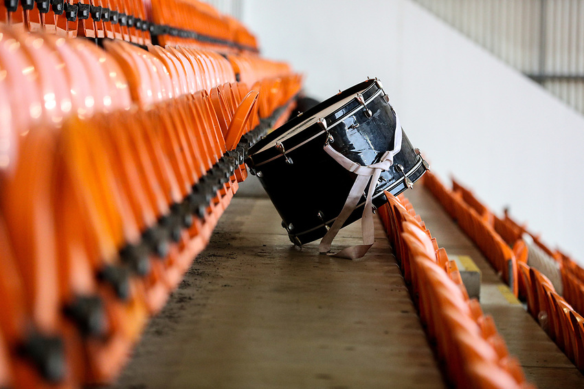 A bass drum rests inside Bloomfield Road, home of Blackpool<br /> <br /> Photographer Alex Dodd/CameraSport<br /> <br /> EFL Leasing.com Trophy - Northern Section - Group G - Blackpool v Morecambe - Tuesday 3rd September 2019 - Bloomfield Road - Blackpool<br />  <br /> World Copyright © 2018 CameraSport. All rights reserved. 43 Linden Ave. Countesthorpe. Leicester. England. LE8 5PG - Tel: +44 (0) 116 277 4147 - admin@camerasport.com - www.camerasport.com