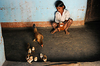 INDIA, Jharkhand, Chaibasa, Adivasi, Ho tribe, girl with chicken / INDIEN, Jharkhand , Chaibasa , Dorf Surjabasa , Ho Ureinwohner