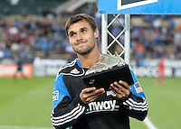 Chris Wondolowski holds his Golden Boot trophy. The San Jose Earthquakes tied Toronto FC 1-1 at Buck Shaw Stadium in Santa Clara, California on April 9th, 2011.