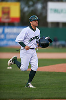 Beloit Snappers coach Anthony Phillips (10) during a Midwest League game against the Lake County Captains at Pohlman Field on May 6, 2019 in Beloit, Wisconsin. Lake County defeated Beloit 9-1. (Zachary Lucy/Four Seam Images)