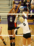 SIOUX FALLS, SD - SEPTEMBER 19:  Bria Barfnecht #15 from the University of Sioux Falls looks for a block against Sydney Hunsley #8 from Augustana during their match Saturday afternoon at the Stewart Center. (Photo by Dave Eggen/Inertia)