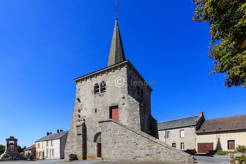 France, Creuse (23), Toulx-Sainte-Croix, église Saint-Martial de Toulx-Sainte-Croix à clocher séparé de la nef // France, Creuse, Toulx Sainte Croix, the church