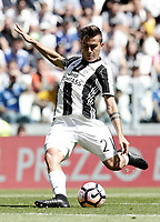 Calcio, Serie A: Juventus vs Crotone. Torino, Juventus Stadium, 21 maggio 2017.<br /> Juventus&rsquo; Paulo Dybala kicks the ball during the Italian Serie A football match between Juventus and Crotone at Turin's Juventus Stadium, 21 May 2017. Juventus defeated Crotone 3-0 to win the sixth consecutive Scudetto.<br /> UPDATE IMAGES PRESS/Isabella Bonotto