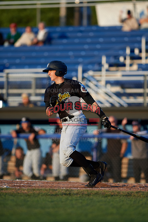 West Virginia Black Bears shortstop Robbie Glendinning (7) follows through on a swing during a game against the Batavia Muckdogs on August 5, 2017 at Dwyer Stadium in Batavia, New York.  Batavia defeated Williamsport 3-2.  (Mike Janes/Four Seam Images)