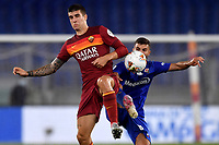 Gianluca Mancini of AS Roma and Patrick Cutrone of ACF Fiorentina compete for the ball during the Serie A football match between AS Roma and ACF Fiorentina at stadio Olimpico in Roma (Italy), July 26th, 2020. Play resumes behind closed doors following the outbreak of the coronavirus disease. <br /> Photo Antonietta Baldassarre / Insidefoto