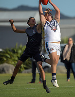 Action from the international academy AFL match between NZ Academy Level 2 and Mornington Peninsula Bluescope Steelers Under-16 at Hutt Park in Wellington, New Zealand on Tuesday, 24 April 2018. Photo: Dave Lintott / lintottphoto.co.nz