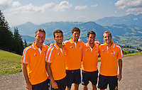 Austria, Kitzbuhel, Juli 15, 2015, Tennis, Davis Cup, Dutch team on top of the &quot;Hahnenkam&quot;  ltr:  Captain Jan Siemerink, Jean-Julien Rojer, Robin Haase, Jesse Huta Galung and  Thiemo de Bakker.<br /> Photo: Tennisimages/Henk Koster