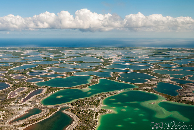 Aerial view of the lagoon and flats of Christmas Island (Kiritimati), Kiribati