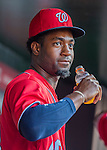 6 August 2016: Washington Nationals outfielder Brian Goodwin looks out from the dugout on his first day being called up to the majors prior to a game against the San Francisco Giants at Nationals Park in Washington, DC. The Giants defeated the Nationals 7-1 to even their series at one game apiece. Mandatory Credit: Ed Wolfstein Photo *** RAW (NEF) Image File Available ***