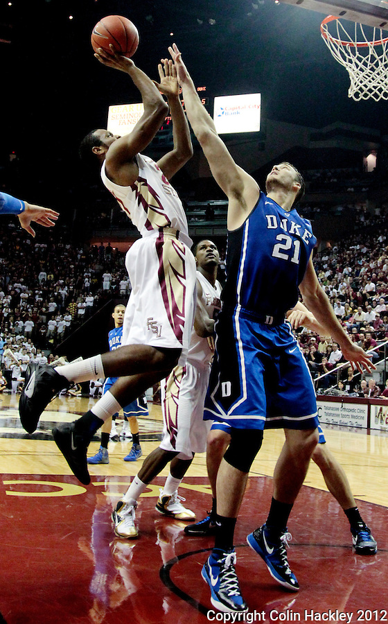 TALLAHASSEE, FLA. 2/23/12-FSU-DUKE022312 CH-FSU's Michael Snaer shoots over Duke's Miles Plumlee  during first half action Feb. 23, 2012 in Tallahassee..COLIN HACKLEY PHOTO