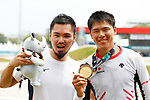 (L to R) <br />    Masahiro Sanpei, <br /> Yoshitaku Nagasako (JPN), <br /> AUGUST 25, 2018 - Cycling - BMX : <br /> Men's BMX Race Medal Ceremony <br /> at Pulo Mas International BMX Center <br /> during the 2018 Jakarta Palembang Asian Games <br /> in Jakarta, Indonesia. <br /> (Photo by Naoki Morita/AFLO SPORT)