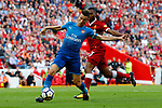 Liverpool's Daniel Sturridge (R) in action with Arsenal's Laurent Koscielny during the premier league match at Anfield Stadium, Liverpool. Picture date 27th August 2017. Picture credit should read: Paul Thomas/Sportimage