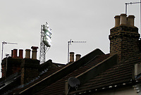 A general view of floodlights at the stadium buried in amongst private homes during the Sky Bet Championship match between Brentford and Leeds United at Griffin Park, London, England on 4 November 2017. Photo by Carlton Myrie.