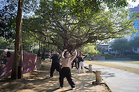 "Local residents perform morning exercise outside the Confucian Temple in Tainan, Taiwan, 2015. Tainan, literally ""Taiwan South"", is a special municipality located in southern Taiwan, facing the Taiwan Strait in the west and south. Tainan is the oldest city in Taiwan and also commonly known as the ""Capital City"" for its over 200 years of history as the capital of Taiwan under Koxinga and later Qing dynasty rule. Tainan's complex history of comebacks, redefinitions and renewals inspired its popular nickname ""the Phoenix City""."