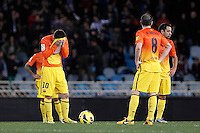 FC Barcelona's Leo Messi, Andres Iniesta and Xavi Hernandez dejected after goal during La Liga match.January 19,2013. (ALTERPHOTOS/Acero) /NortePhoto