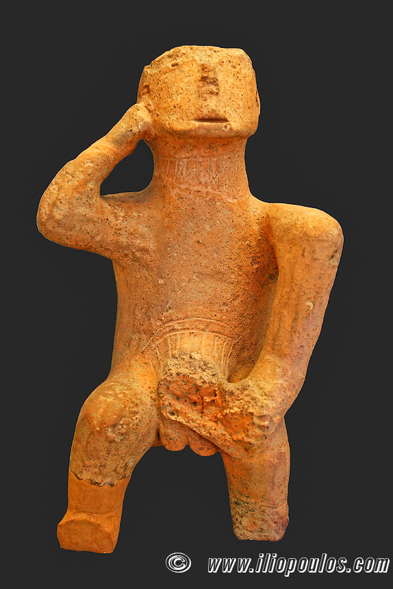 The ''Thinker'' is Large compact figure of a seated man (4500-3300 B.C.) in National Museum, Greece