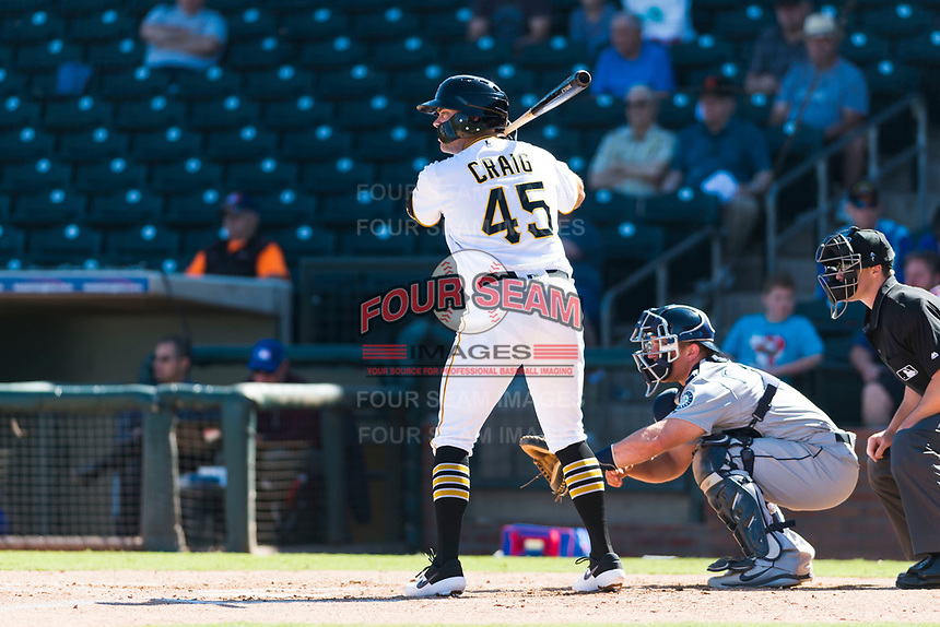 Surprise Saguaros first baseman Will Craig (45), of the Pittsburgh Pirates organization, at bat in front of catcher Joe DeCarlo (4) and home plate umpire Brennan Miller during an Arizona Fall League game against the Peoria Javelinas at Surprise Stadium on October 17, 2018 in Surprise, Arizona. (Zachary Lucy/Four Seam Images)