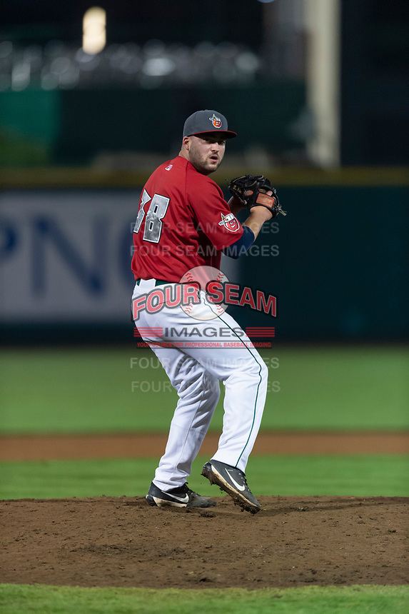 Fort Wayne TinCaps relief pitcher Dan Dallas (38) during a Midwest League game against the Fort Wayne TinCaps at Parkview Field on April 30, 2019 in Fort Wayne, Indiana. Kane County defeated Fort Wayne 7-4. (Zachary Lucy/Four Seam Images)