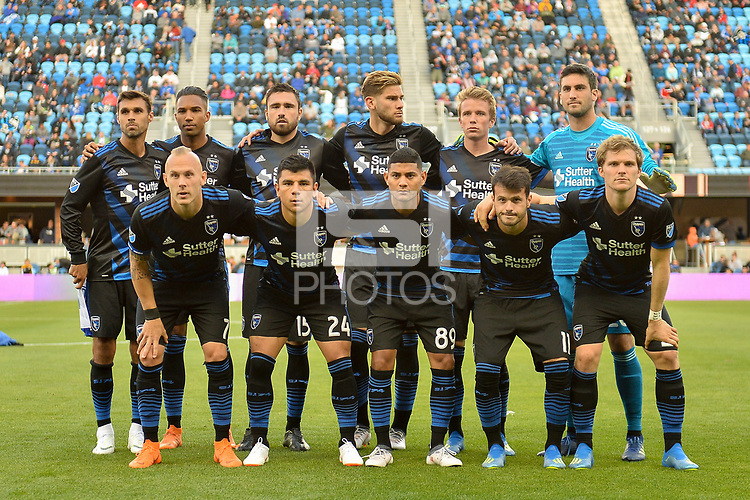 San Jose, CA - Saturday June 09, 2018: San Jose Earthquakes Starting Eleven during a Major League Soccer (MLS) match between the San Jose Earthquakes and Los Angeles Football Club at Avaya Stadium.