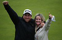 Wife Wendy with Alan Clancy as Shane Lowry (IRL) wins the Final Round of the 148th Open Championship, Royal Portrush Golf Club, Portrush, Antrim, Northern Ireland. 21/07/2019. Picture David Lloyd / Golffile.ie<br /> <br /> All photo usage must carry mandatory copyright credit (© Golffile | David Lloyd)