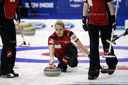 Schwaegli Nicole (SUI), <br /> MARCH 19, 2015 - Curling : World Women's Curling Championship 2015 Round Robin match between Switzerland and Scotland at Tsukisamu Gymnasium in Sapporo, Hokkaido, Japan. (Photo by Jun Tsukida/AFLO SPORT)