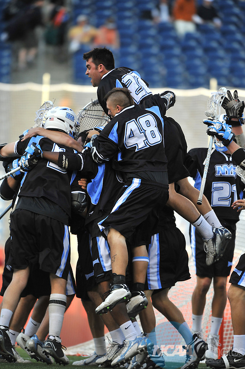 25 MAY 2008: Billy Haiduck (48) and his teammates from NYIT College celebrate  their victory over Le Moyne College during the Division II Men's Lacrosse Championship held at Gillette Stadium in Foxborough, MA.  NYIT defeated Le Moyne 16-11 for the national title. Larry French/NCAA Photos