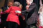 Len Cariou congradulates Marian Wright Edelman for her Justice Award, at the John Jay Justice Award ceremony, April 5 2011.