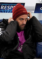 Calcio, Champions League, Gruppo E: Roma vs Manchester City. Roma, stadio Olimpico, 10 dicembre 2014.<br /> Roma's Daniele De Rossi sits on the bench on the occasion of the Champions League Group E football match between Roma and Manchester City at Rome's Olympic stadium, 10 December 2014. Manchester City won 2-0.<br /> UPDATE IMAGES PRESS/Isabella Bonotto