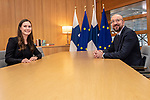 BRUSSELS - BELGIUM - 12 December 2019 -- EU-Summit with Heads of State - European Council meeting - Presidency of Finland. -- Sanna Marin, Prime Minister of Finland meeting with Charles Michel, President of the European Council. -- PHOTO: Juha ROININEN / EUP-IMAGES