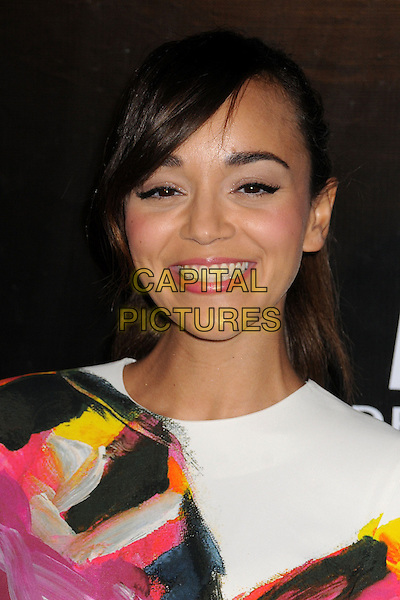 Ashley Madekwe.Rodeo Drive Walk of Style 2012 held on Rodeo Dr., Beverly Hills, California, USA..December 5th, 2012 .headshot portrait blue white black pink yellow pattern lipstick smiling .CAP/ADM/BP.©Byron Purvis/AdMedia/Capital Pictures.