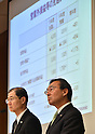 April 28, 2015, Tokyo, Japan - Kazuhiro Tsuga, president of Japan's Panasonic Corp., presents its earnings during a news conference at its head office in Tokyo on Tuesday, April 28, 2015. For the current fiscal year through March 2016, the Japanese electronics expects its group net profit to edge up 0.3 percent to 180 billion yen.  At left is Senior Managing Director Hideaki Kawai. (Photo by Natsuki Sakai/AFLO) AYF -mis-