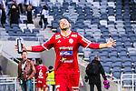 Stockholm 2014-05-04 Fotboll Superettan Hammarby IF - IFK V&auml;rnamo :  <br /> V&auml;rnamos Juan Robledo &auml;r glad efter matchen<br /> (Foto: Kenta J&ouml;nsson) Nyckelord:  Superettan Tele2 Arena Hammarby HIF Bajen V&auml;rnamo jubel gl&auml;dje lycka glad happy