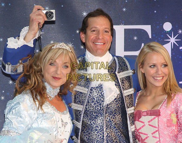 HELEN LEDERER, STEVE GUTTENBERG  & LAURA HAMILTON .Photocall to launch the celebrity Pantomime productions from First Family Entertainment held at the O2 Centre NW3, London, England, .November 19th 2008..panto half length costume outfit camera taking photo pink tiara dress white crown  blue ruffle scar collar jacket shirt Cinderella .CAP/JIL.©Jill Mayhew/Capital Pictures