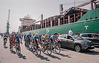 peloton cruising through the Antwerp Harbour (and loading docks!) during the neutralised section<br /> <br /> 92nd Schaal Sels 2017 <br /> 1 Day Race: Merksem > Merksem (188km)
